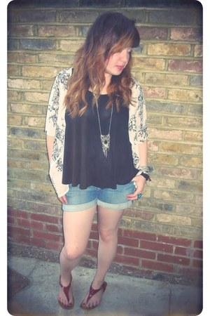 blue H&M shorts - black H&M vest - off white floral Primark cardigan - silver H&