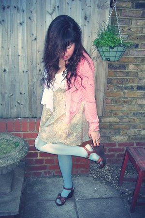 light pink Primark cardigan - light blue River Island tights
