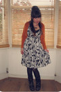 Black-biker-office-boots-black-and-white-h-m-dress-black-primark-tights