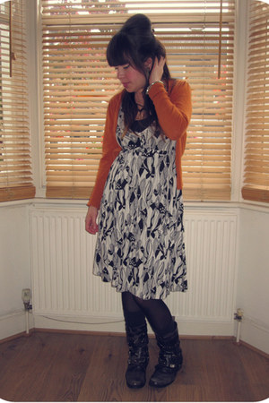 black biker Office boots - black and white H&amp;M dress - black Primark tights