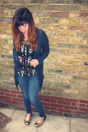 blue H&M leggings - gold Shelleys flats - teal Primark cardigan - teal aztec des