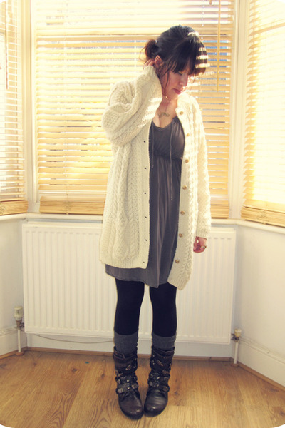 H&M dress - Office boots - Primark tights - H&M socks - aran vintage cardigan