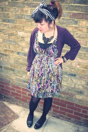 black new look shoes - purple patterned H&M dress - black Primark tights - white