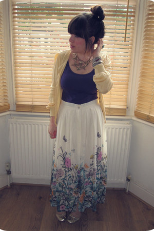 floral H&M skirt - light yellow Primark cardigan - purple H&M vest