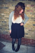black H&M boots - silver patterned Primark tights - gray H&M cardigan - black Ma