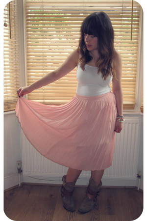 light pink sheer vintage skirt - white slip Marks & Spencer skirt