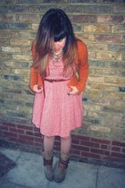 camel Primark boots - red floral H&M dress - burnt orange Primark cardigan - taw