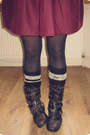 Black-studded-office-boots-black-pattern-primark-tights