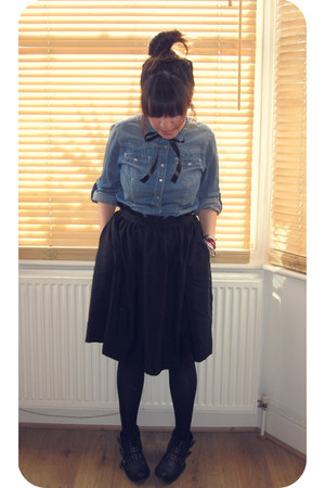 black new look boots - denim Dorothy Perkins shirt - black Primark tights