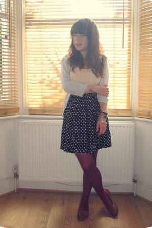 black polka dot Monki skirt - brown Marks & Spencers shoes