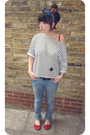 striped Topshop top - Topshop jeans - navy headband Market scarf