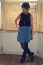 gold collar Primark shirt - Office boots - Primark tights - H&M vest
