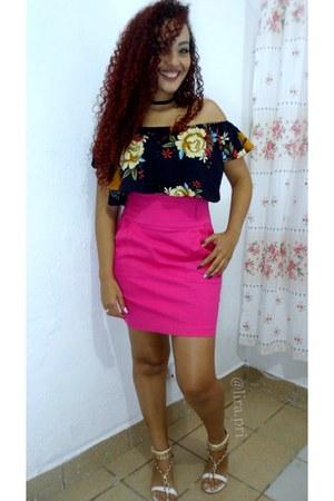 navy blouse - hot pink skirt - white sandals