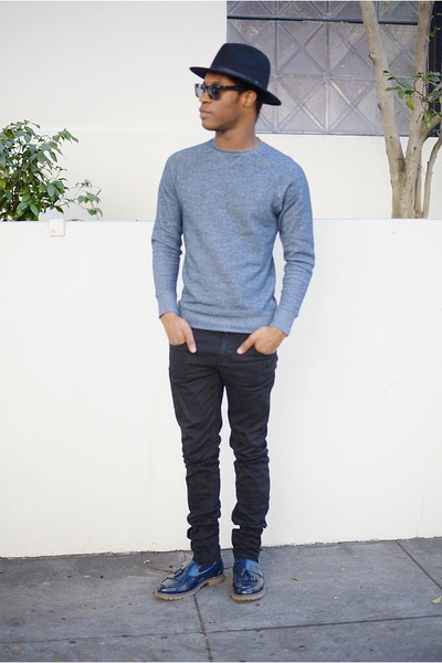 black fedora Target hat - navy loafers H&M shoes - black slim fit Zara jeans