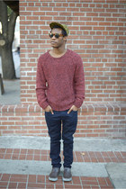 ruby red knit sweater Shades of Grey sweater