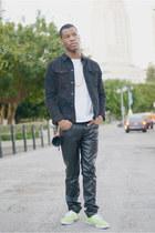 black denim jacket Zara jacket - white pocket t-shirt Zara t-shirt