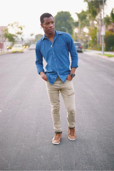 dba18d0ebac denim American Apparel shirt - slim fit Zara jeans - leather Target watch