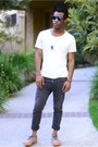 Dark-gray-skinny-cheap-monday-jeans-black-bedazzled-vintage-hat