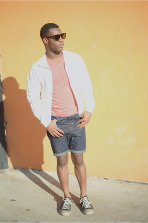 black Lookmatic sunglasses - white nylon American Apparel jacket