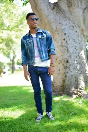 blue bleached denim calvin klein jacket - navy BDG jeans