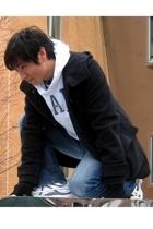 united colors of benetton coat - American Eagle shirt - Vigoss jeans - nike shoe
