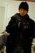 black benetton coat - black American Rag jacket - gray H&M scarf - blue Old Navy