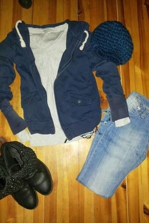 black Tendenz boots - sky blue Diesel jeans - navy kenvelo hat