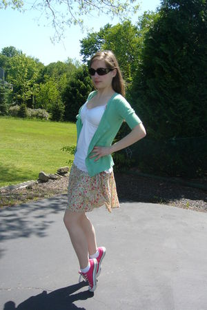 pink Converse shoes - green Old Navy cardigan - beige American Eagle skirt