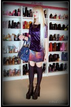 black big lita Jeffrey Campbell boots - hot pink rainbow galaxy Black Milk dress