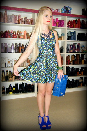 green Black Milk dress - blue balenciaga bag