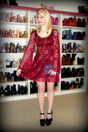 crimson arabella Black Milk dress - deep purple mini kelly Hermes bag