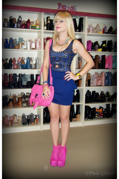 navy pacman Black Milk swimwear - hot pink lita Jeffrey Campbell boots
