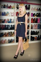 black sheer babydoll Black Milk dress - beige vintage Chanel bag