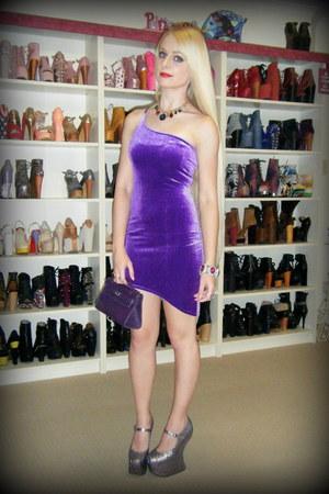 purple kapow Black Milk dress - deep purple mini kelly Hermes bag