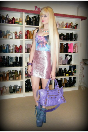 amethyst giant part time balenciaga bag - sky blue hellbounds UNIF boots