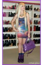 bubble gum rainbow galaxy Black Milk dress - purple litas Jeffrey Campbell boots