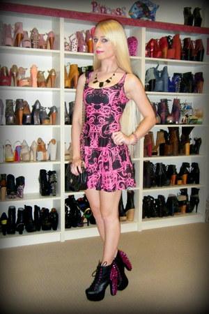 black lita pink spike Jeffrey Campbell boots - pink Black Milk dress