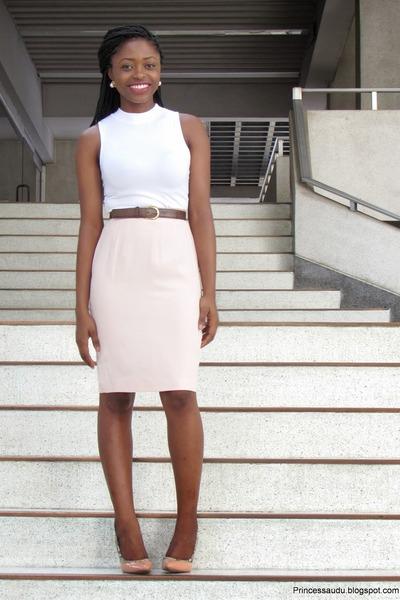 thrifted vintage skirt - brown leather thrifted vintage belt