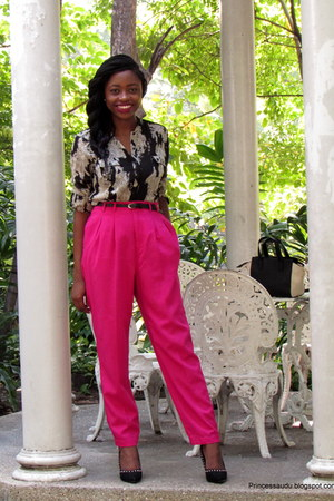 snake print vintage shirt - pink highwaist vintage pants