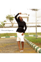white white pumps Bershka pumps - off white peplum hem vintage skirt