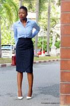 blue pinstripes ann taylor shirt - thrifted vintage skirt - white Bershka pumps
