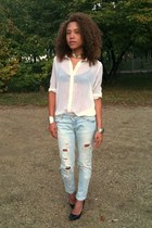 new look blouse - Zara jeans - hm bracelet - Nelly necklace - Zara heels