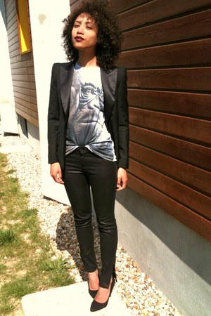Zara jeans - Queens Wardrobe jacket - your eyes lie t-shirt - Zara heels