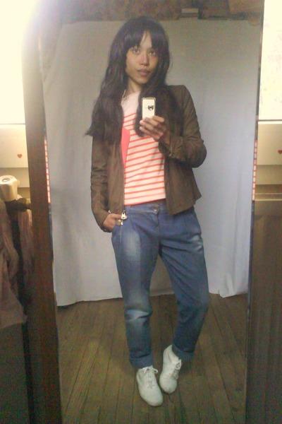 cardigan  Petit Bateau top  benetton jeans  Naf Naf jacket