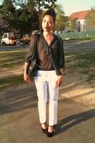 longchamp bag - Zara blouse - Zara pants - Topshop heels