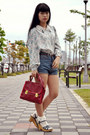 Ruby-red-bag-blue-shorts-light-blue-blouse