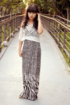 black leopard print local stores dress - white fishnet top local stores top