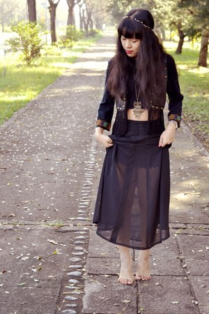 black cropped vintage top - black maxi vintage skirt
