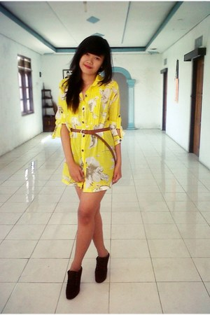 yellow mini dress dress - dark brown shoes - brown belt