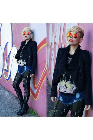 boots - jacket - tights - shorts - sunglasses - hair accessory